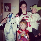 Age 14: Football Player with a Storm Trooper, Wonder Woman and Yoda (aka my fan bam)