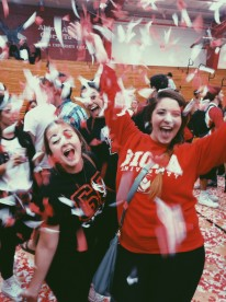 My lovely friend Kaycee and me throwing confetti at Midnight Madness